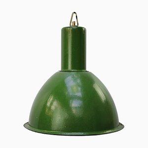 Grün emaillierte industrielle Vintage Hängelampe, 1950er