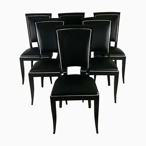 Leather Dining Chairs, 1940s, Set of 6
