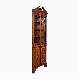Mahogany Inlaid Corner Cabinet, 1920s