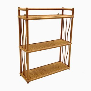 Mid-Century French Rattan Shelf