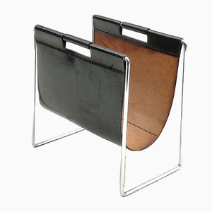 Vintage Leather and Chromed Metal Magazine Rack from Brabantia