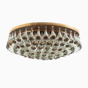 Lámpara de techo vintage con lágrimas de vidrio de Palwa