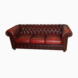 Dar Red Leather Three-Seater Chesterfield Sofa, 1960s