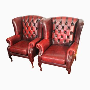 Red Leather Buttoned Wing Back Armchairs, 1960s, Set of 2
