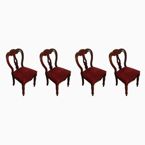 Antique Mahogany Balloon Back Dining Chairs, Set of 4