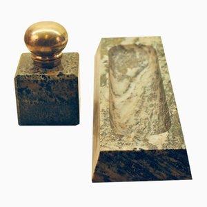 Lapicero tintero antiguo de mármol y plata dorada. Juego de 2