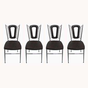 Chaises de Salle à Manger Vintage en Simili Cuir, 1970s, Set de 4