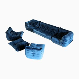 Vintage Petrol Blue Velvet Togo Living Room Set by Michel Ducaroy for Ligne Roset