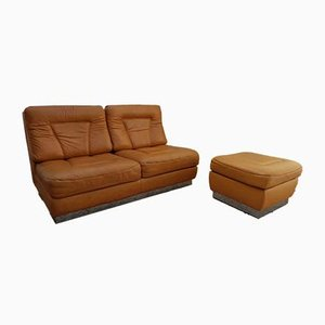 Leather Sofa & Ottoman Set by Jacques Charpentier, 1970s