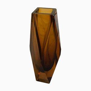 Bernsteinfarbene Mid-Century Vase aus Muranoglas von Seguso, 1970er