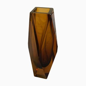 Jarrón Mid-Century de cristal de Murano ámbar de Seguso, años 70