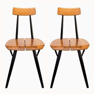 Wooden Prikka Dining Chairs by Ilmari Tapiovaara for Laukaan Puu, 1960s, Set of 2