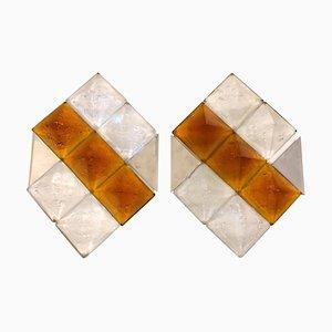 Apliques Mid-Century de cristal de Murano y acero de Mazzega, años 70. Juego de 2