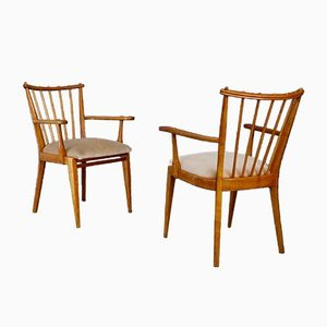 Cherrywood & Velvet Dining Chairs, 1960s, Set of 2