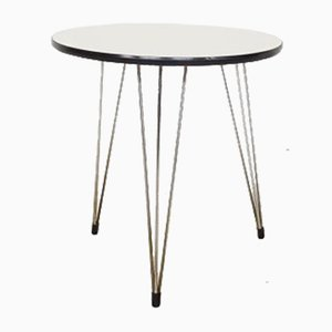 Vintage Dutch White Formica Side Table with Hairpin Legs, 1950s