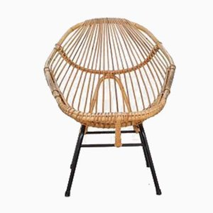 Vintage Dutch Rattan Lounge Chair by Rohe Noordwolde, 1960s