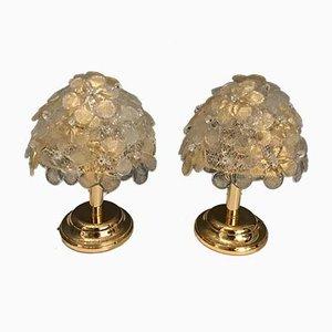 Lámparas de mesa con flores de cristal de Murano de Seguso, años 70. Juego de 2