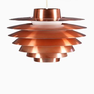 Large Vintage Copper Verona Pendant Lamp by Svend Middelboe for Fog & Mørup, 1960s