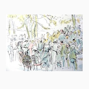 Garden Party Lithograph by Leonard Foujita, 1952