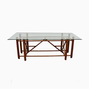 Glass and Bamboo Dining Table from Gasparucci, 1980s