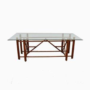 Tavolo da pranzo in vetro e bambù di Gasparucci, anni '80