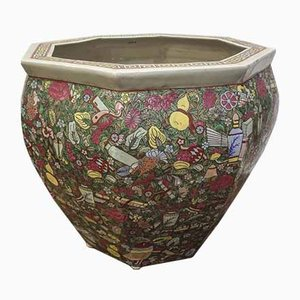 Macetero chino antiguo de porcelana esmaltada cloisonné