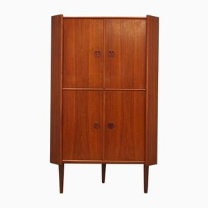 Vintage Danish Teak Veneer Corner Cabinet, 1960s
