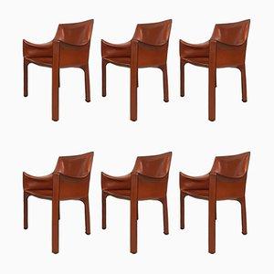 Chaises de Salle à Manger Cab 413 par Mario Bellini pour Cassina, 1970s, Set de 6