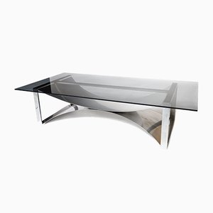 Vintage Steel Coffee Table by Francois Monnet for Kappa, 1970s