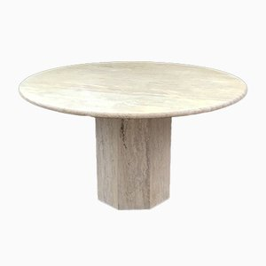 Vintage Italian Travertine Octagonal Dining Table, 1970s