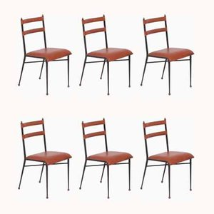 Vintage Dining Chairs by Jacques Adnet, 1950s, Set of 6