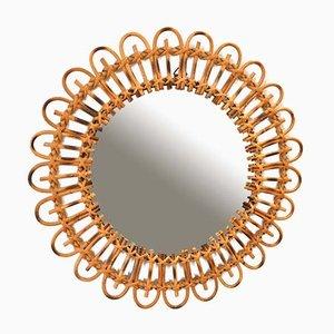 Espejo en forma de sol de ratán, años 50