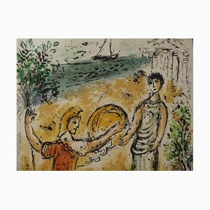Athena & Telemachus Lithografie von Marc Chagall, 1975
