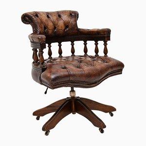 Silla de escritorio estilo antiguo de cuero y caoba, años 50