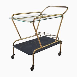 Italian Brass & Glass Trolley by Cesare Lacca, 1950s