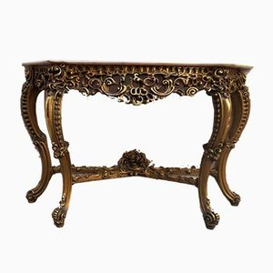 Antique French Louis XV Golden Wood & Marble Console Table