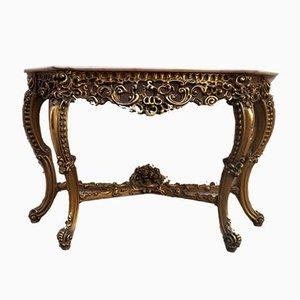 Mesa consola francesa Luis XV francesa de madera dorada y mármol
