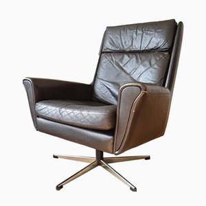 Mid-Century Danish Leather Swivel Chair