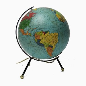 Vintage Tripod Illuminated Earth Globe from Cartes Taride, 1966