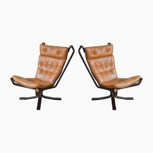 Mid-Century Highback Danish Falcon Chairs by Sigurd Ressell for Ølgod Møbler, 1970s, Set of 2