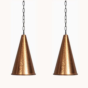 Mid-Century Hammered Copper Ceiling Lamps by E.S Horn Aalestrup for Horn Collection, Set of 2