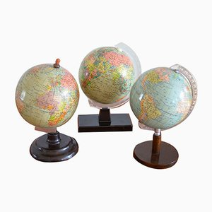 Mid-Century Bakelite, Wood, & Papier Mache Globes, 1950s, Set of 3