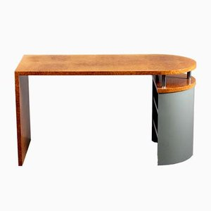Postmodern Burr Wood Veneer Architectural Writing Desk from Wieser Vienna, 1980s