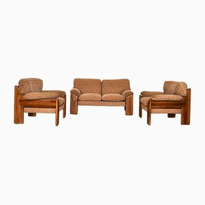 Walnut & Velvet Living Room Set from Mobil Girgi, 1970s