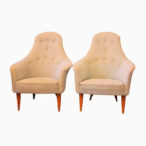 Large Vintage Adam Lounge Chairs by Kerstin Hörlin-Holmquist for Nordiska Kompaniet, 1958, Set of 2