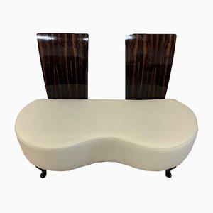 Vintage Italian Macassar and Leather Sofa