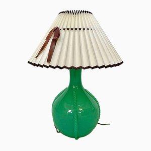 Lámpara de mesa italiana vintage de cristal de Murano verde, años 50