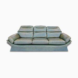 Vintage Italian Green Leather 3-Seater Sofa, 1970s