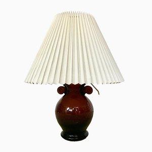 Lámpara de mesa italiana vintage en forma de ánfora de cristal de Murano, años 50