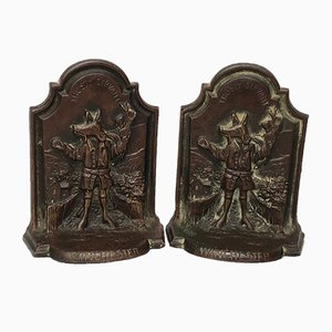 Antique Etched Cast Bronze Bookends, Set of 2